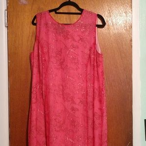 Full length pink sheath dress